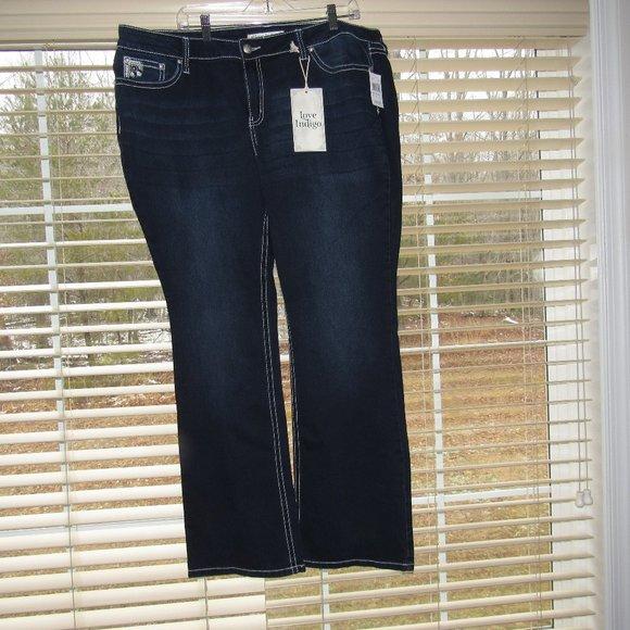 NWT LOVE INDIGO Boot Embellished Blue Jeans Sz 20